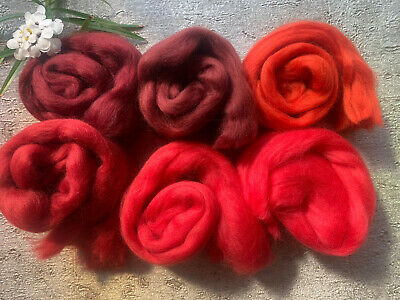Heidifeathers® Merino Wool Tops - 'Ravishing Reds' - Felting Wool