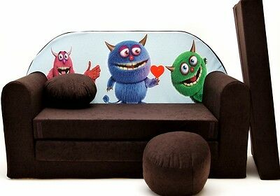 Kids Sofa Bed 168Cm Futon Childs Furniture + Free Pouffe  & Pillow