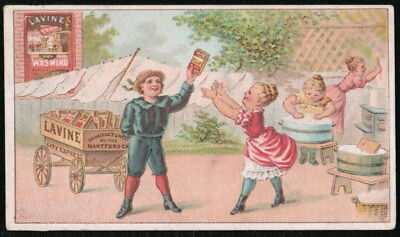 LAVINE WASHING SOAP Vtg Victorian Trade Card Hartford CT Boy Selling to Girls