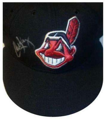 Signed Indians Carlos Baerga Autographed Game Hat W/pic