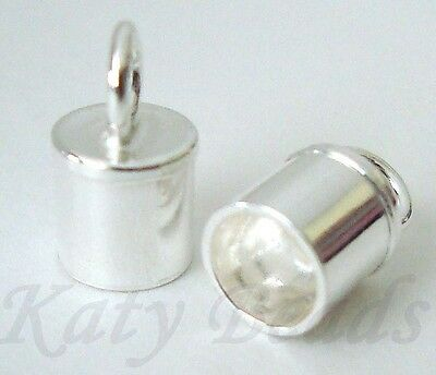10pcs solid 925 Sterling Silver leather cord end cap endcap 4mm made in USA D62