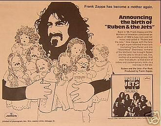 Frank Zappa Ruben The Jets 1971 Promo Poster Type Ad