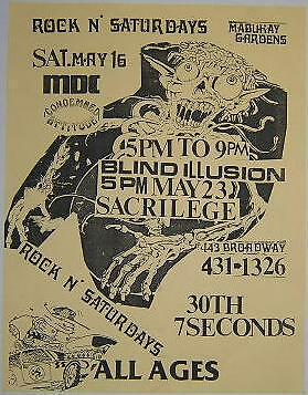 Blind Illusion is EARLY Primus Members MDC 7 Seconds Concert Poster Punk Flyer