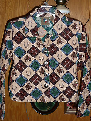 Don't Mess With Texas Tapestry Horse & Horseshoes Jacket Blazer Ladies S