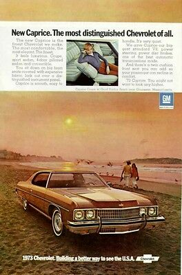 1973 Chevy Caprice Coupe ad ~ At Good Harbor Beach MA.