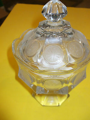Vintage Fostoria Glass Frosted Coin Covered Candy Dish 19.99 Nr