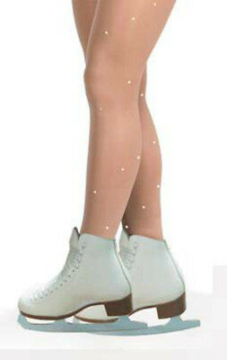 FOOTED ROLLER OR ICE SKATING TIGHTS WITH QUALITY CLEAR 4m CRYSTALS VARIOUS SIZES