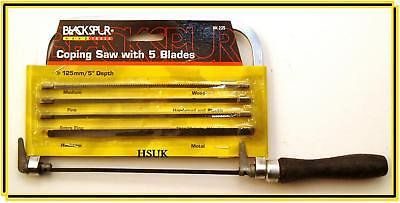 Coping Saw With 5 Assorted Blades Metal Plastic Wood Hand Saw Diy 125Mm Hk235