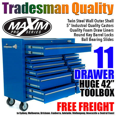 """MAXIM 42"""" Tool Cabinet 11 Drawer Toolbox Chest Trolley Box Roller Garage Auto"""