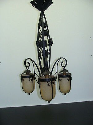 FRENCH WROUGHT IRON CEILING LAMP WITH ART NOUVEAU GLASS SHADES
