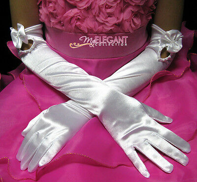 White Wedding Flower Girls Communion Pageant Long Elbow Satin Floral Gloves