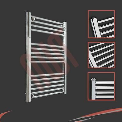 600mm(w) x 800mm(h) Straight Chrome Heated Towel Rail 1624 BTUs Radiator Warmer