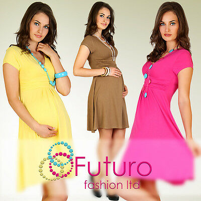 *HOT DEAL* Women's Maternity Dress Tunic Short Sleeve V-Neck Stretchy FT875