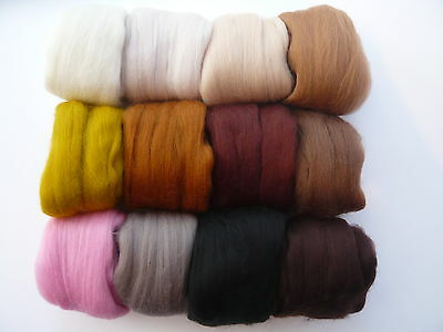 Heidifeathers® Felting Wool 'Toy Box Mix'  12 Colours (300g) Browns and Neutrals