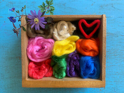 Heidifeathers® Dyed Tussah Silk Tops / Fibres Mix x10 Colors - Felting, Spinning
