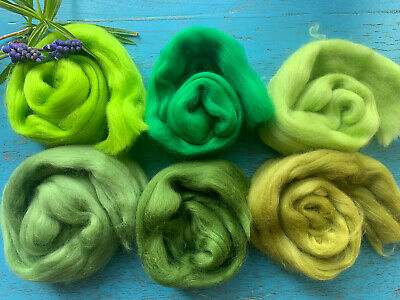 Light green Lime Carded Roving Wool Felting Spinning Craft Hand Needle VK5017