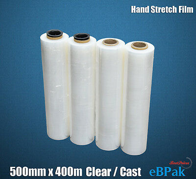 CLEAR Hand Stretch Film 500mm x 400m 25UM for Pallet Carton Shrink Wrap x4 Rolls