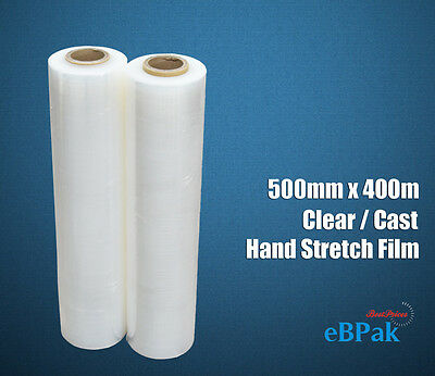 2x Clear Hand Stretch Film 500mm x 400m Meter - 25U Cast -  Pallet Shrink Wrap