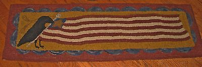 """Primitive Hooked Rug Pattern On Monks """"Keeper Of The Flag"""""""