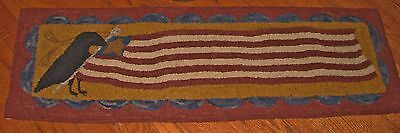 "Primitive Hooked Rug Pattern On Monks ""keeper Of The Flag"""