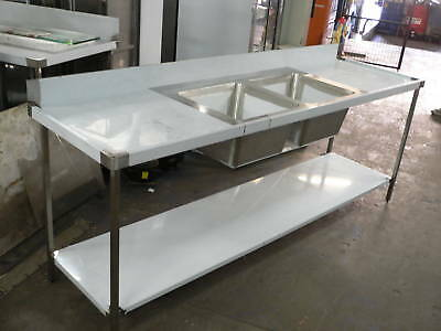 Stainless Steel Double Bowl Wet Bench 1800mm Long