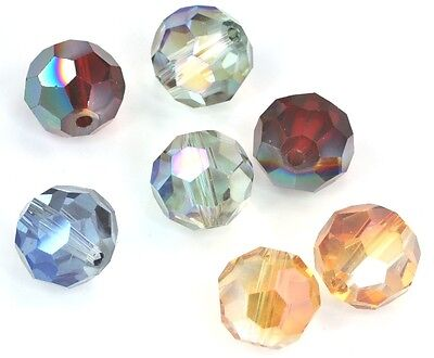 Faceted Round Metallic Glass Crystal Beads for Jewellery Making 4mm 6mm 8mm 10mm