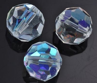 Round Clear AB Faceted Crystal Cut Glass Beads for Jewellery Making Craft