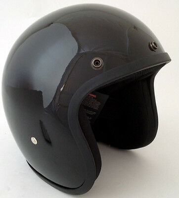 Daytona Low Profile Helmet Gloss Black Bobber Chopper Custom Open Face Biker