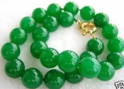 Beautiful GREEN Emerald 10mm Beads Necklace 18""