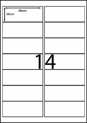 14 labels per page A4 Avery Compatible - DL14  - 20 sheets Pkt