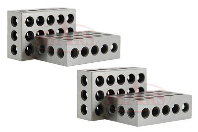 "SHARS 2 Pair (4)  1-2-3 123 BLOCK Set Precision 0.0001"" Matched 23 Holes NEW"