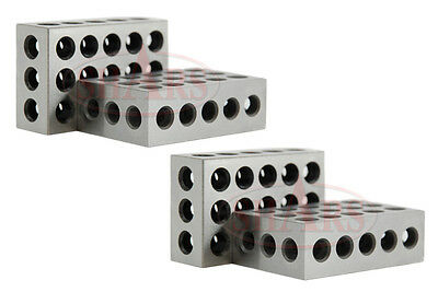 "Shars 2 Matched Pairs 4 Pcs Precision 123 1-2-3 Blocks Block 23 Holes .0002"" New"