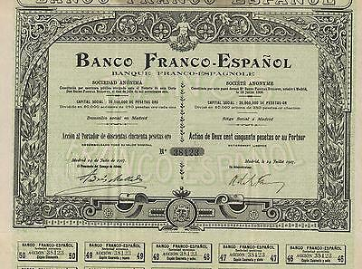 SPAIN FRENCH SPANISH BANK BOND stock certificate 1907 W/ ALL 50 COUPONS