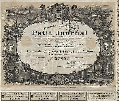 FRANCE OLD FRENCH NEWSPAPER stock certificate 1896 PETIT JOURNAL