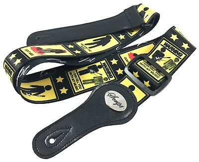 """100% Leather Ends SCRIPT Guitar Strap """"Death by Music""""  Electric, Acoustic, Bass"""