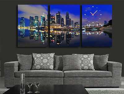 City Night View 5 Modern Wall Clock On Canvas Prints Set Of 3 FRAMED