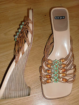 ANTHROPOLOGIE HYPE Nude Braided Strappy Wedges Aqua Beads Sandals 10 M