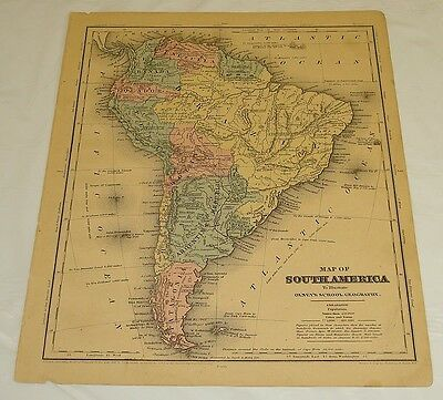 1844 Olney's Atlas Antique Color Map of SOUTH AMERICA