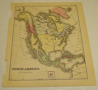 1880 Warren Antique Color Map of NORTH AMERICA