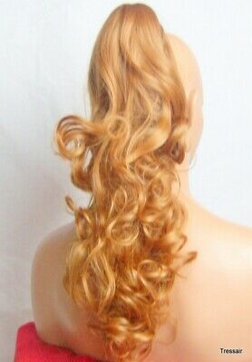 """Clip in Hair Ponytail Hair Extension Curly Long Strawberry Blonde #27 19"""" KATIE"""