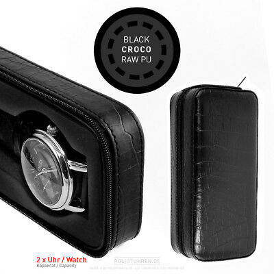 UHRENETUI | Uhrenbox doppelbox für 2 UHREN double travel watch case croco black