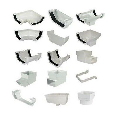 Floplast White Square 114mm Gutter Fittings & 65mm Down Pipe Fittings
