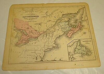 1869 McNally Antique Color Map of NEW BRUNSWICK & NOVA SCOTIA, CANADA