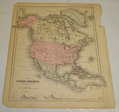 1869 McNally Antique Color Map of NORTH AMERICA