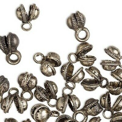 100 Antique Oxidized Clapperless BELLS Belly Dancer BRASS Base 8x12mm w/ Loop