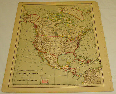 1877 Eclectic Series Color Map of POLITICAL & PHYSICAL MAP OF NORTH AMERICA