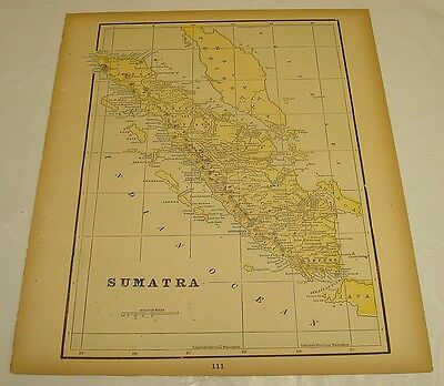 1895 Gaskell Atlas Antique Color Map of SUMATRA b/w USA POPULATION CENTERS