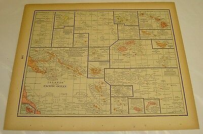 1895 Gaskell Atlas Color Map of ISLANDS IN THE PACIFIC b/w ISLANDS IN ATLANTIC
