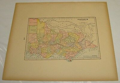 1895 Gaskell Atlas Antique Color Map of VICTORIA b/w NEW ZEALAND