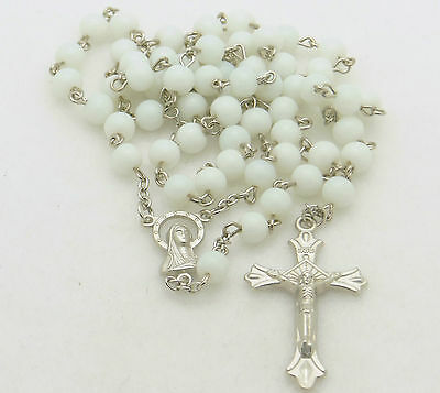 Catholic Rosary Bead Necklace ~ White Glass Round Beads